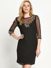 BNWT SAVOIR BLACK EMBELLISHED MESH TRIM DRESS  SIZE 18