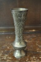 Gorgeous Vintage Tall Brass Vase with Etched Detail - 19.5cm Tall