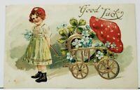 Good Luck Gilded Cart Horseshoe Clover & Large Mushroom Biglerville Postcard I20