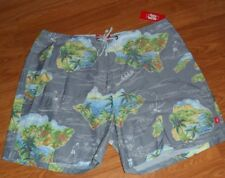 """*JAMES BLONDE BOARD SHORTS SIZE 36 """"TOES ON THE NOSE"""" GRAY TROPICAL PRINT NWT"""