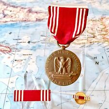 #19102 WWII US ARMY GOOD CONDUCT MEDAL RIBBON BAR LAPEL PIN NUMBERED