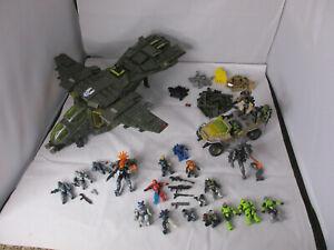 Mega Bloks Halo UNSC Lot 97129 Pelican Gunship 97134 NIght Ops Gausshog + Extras