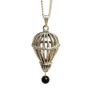 Steampunk Victorian Hot Air Balloon Necklace - Black Onyx Gemstone Drop Silver