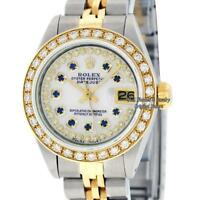 Rolex Lady Datejust SS/18K Yellow Gold White MOP Diamond Dial and Diamond Bezel