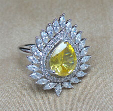 Cubic Zirconia Yellow Cocktail White Gold Plated Ring 911 0RC 68