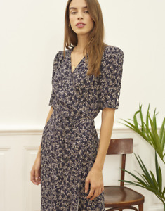 ROUJE 2021 French Print Floral Wrap Tea Break Skirt Long Dress Women