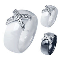 Ceramic Ring Strass Crystal Cross Finger Ring Band Womens Mens Fashion Jewelry