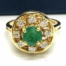 14k yellow gold diamond and round emerald ring