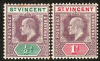 St Vincent 1904 purple/green 1/2d purple/carmine 1d m/crown CA p14 mint SG85/86