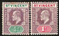 St Vincent 1904 purple/green 1/2d purple/carmine 1d m/crown CA p14 mint SG85/86