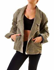 One Teaspoon Women's Leather Oracle Sage Khaki Jacket Size XS RRP $368 BCF68