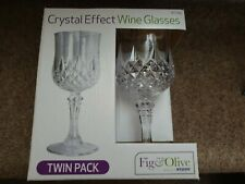 CLEAR CRYSTAL WINE PLASTIC DRINKING GLASSES CUPS SET OF 4