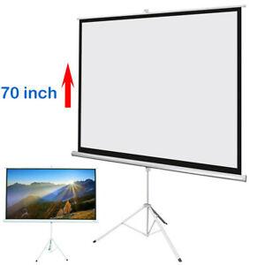 """70"""" Portable Pull Up Projector Screen HD Home Movie Projection w/ Stand Tripod"""
