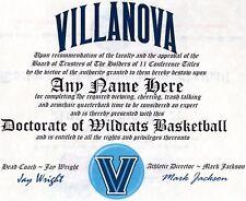 VILLANOVA WILDCATS BASKETBALL~ CERTIFICATE ~FUN  DIPLOMA  ~ MAN CAVE ~