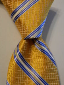 DANIEL CREMIEUX Seven Fold Silk Necktie LIMITED 187/500 STRIPED Yellow/Blue $120