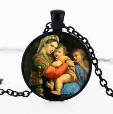 Wholesale Cabochon Glass Black  Chain Pendant Necklace,Notre Dame /171