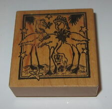 Christmas Flamingos Rubber Stamp PSX Tropical Beach Santa Hats RARE Bells Stars