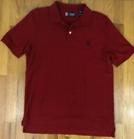 CHAPS Golf Men's Red Navy Blue Logo Solid 1/4 Button Polo Shirt Size Small S