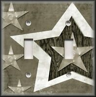 Light Switch Plate Cover - Rustic Farmhouse Decor Country Star Beige Grey 01