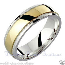 Wedding Band Man Milgrain Domed Ring 6Mm 10K Two Tone White Yellow Gold Mens