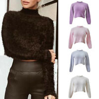 Fluffy Winter Womens Crop Top Turtle Neck Pullover Knitted Sweater Jumper Blouse