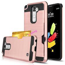 For LG Stylus 2 Case Hybrid TPU Shockproof Hard Back Cover with Card Pocket