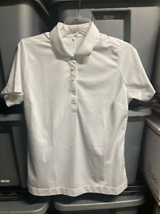 Womens size Large NIKE GOLF White Dri-Fit polo shirt short sleeve collared top