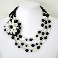 Stunning 3 Strand Genuine Freshwater Pearl & Black Agate Necklace Flower accent