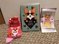 New! Corgi Dog Valentines Day Gift Set! Crew Socks, Card & Bags