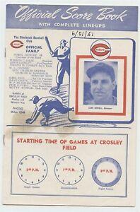 Cincinnati Reds 1951 Score Book - Cincinnati Reds Vs. Brooklyn Dodgers - VG