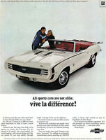 Camaro SS Convertible JEAN CLAUDE KILLY Rally Sport Equipment MUSCLE CAR 1968 Ad