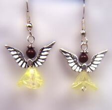 Gold and Silver Angel Earrings with Tigereye
