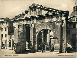 Rome The portico of Octavia Original vintage collotype photo 1900c E. Richter