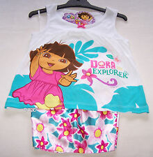 Dora The Explorer Girls White Cotton Satin Pyjama Set Size 4 New