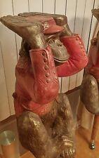Vtg Mid Century Large Ceramic Monkey Table/Plant Stands Pair-Set, Signed Artisan