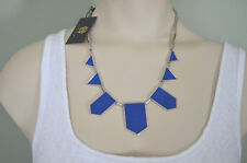 House of Harlow Suede Cobalt Blue Silver tone Station Necklace NWT