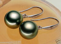 10mm round South Sea Shell Pearl solid Sterling Silver Dangle Earrings