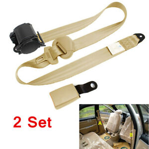 2x Beige Car Truck Seat Safety Harness Kit 3 Point Adjustable Retractable Belt