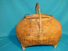 "VINTAGE CHINESE ASIAN FISHING CREEL BASKET, 48 1/2"" AROUND 9"" T, 13"" T W/ HANDLE"