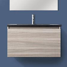 Mobile cm 80 rovere chiaro effetto legno + lavabo in resina nero effetto pietra