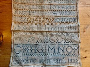 Antique collectable William IV pre Victorian embroidery sampler January 183