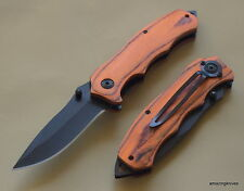 TACTICAL CHERRY WOOD HANDLE SPRING ASSISTED RESCUE KNIFE WITH POCKET CLIP