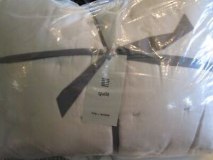 West Elm TENCEL Crescent Stitch Quilt full queen frost gray New w tags