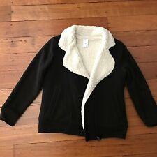 Girls fleece lined sherpa jacket. Black. Sz 9. As new.
