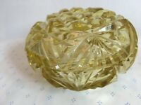 Vintage Pressed Glass Light Yellow Jewelry Box Dish Small Round Lidded Dish