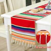 Mexican Serape Table Runner Cotton Tablecloth Wedding Birthday Dinner Table Deco