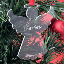 Personalised Christmas Child Angel Tree Decoration Bauble Gift Present