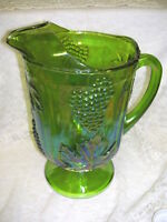 INDIANA CARNIVAL GLASS PITCHER IRIDESCENT GREEN W/ BLUE TINT GRAPE & IVY DESIGN
