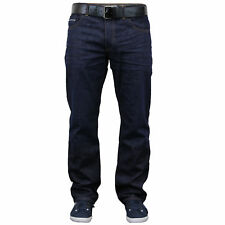 Mens Denim Jeans Crosshatch Bottoms Trousers BELT Straight Leg Pants Casual New