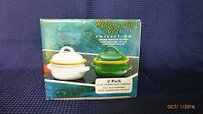 Covered Soup Casserole Cookware Porcelain on Steel Mediterranean Gold Set of 2